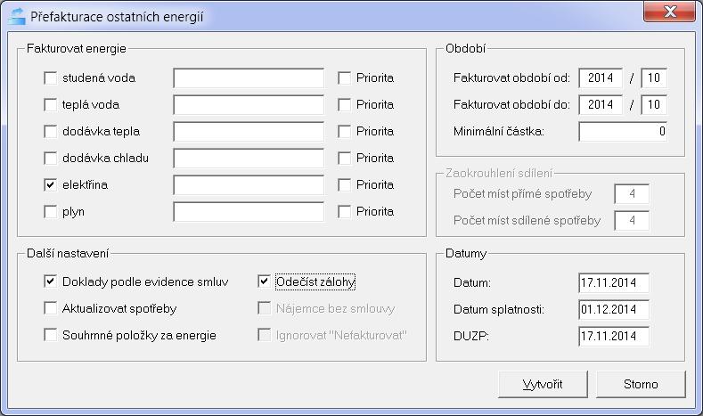 Parametrizace přefakturace energií